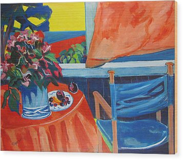 Wood Print featuring the painting Blue Canvas Chair by Betty Pieper