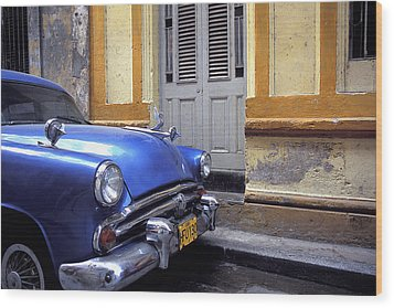 Blue Car Wood Print