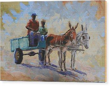 Blue Cart Wood Print by Yvonne Ankerman