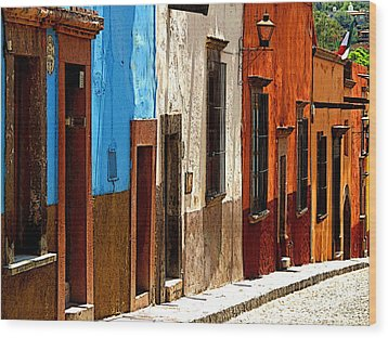 Blue Casa Row Wood Print by Mexicolors Art Photography