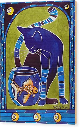 Wood Print featuring the painting Blue Cat With Goldfish by Dora Hathazi Mendes
