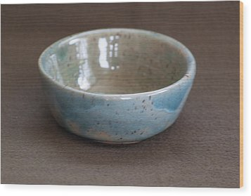 Blue Ceramic Drippy Bowl Wood Print by Suzanne Gaff