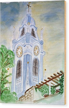 Blue Church Tower  Wood Print