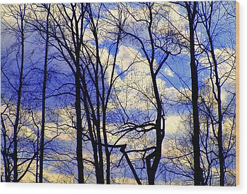 Blue Clouds Wood Print by Aron Chervin