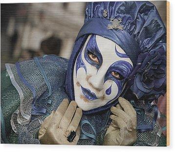 Blue Clown Wood Print