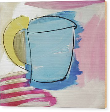 Blue Coffee Mug Wood Print by Amara Dacer