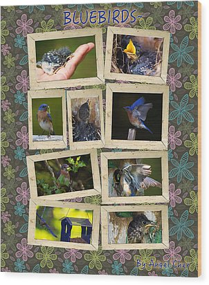 Wood Print featuring the photograph Blue Collage by Angel Cher