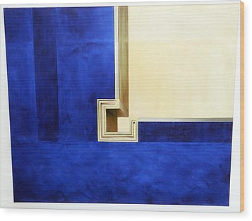 Blue Construktion On White Wood Print by Albert Kutzelnig