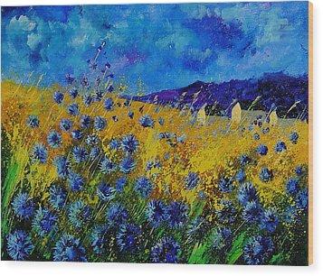 Blue Cornflowers Wood Print by Pol Ledent
