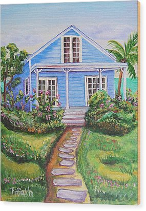 Wood Print featuring the painting Blue Cottage by Patricia Piffath