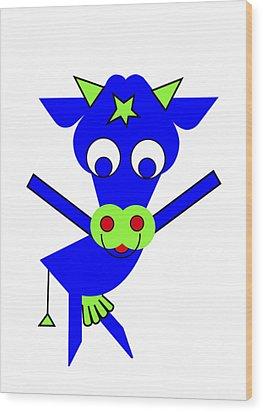 Blue Cow Margaret Wood Print by Asbjorn Lonvig