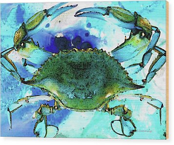 Blue Crab - Abstract Seafood Painting Wood Print by Sharon Cummings
