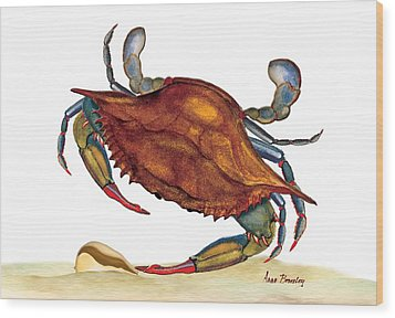 Wood Print featuring the painting Blue Crab by Anne Beverley-Stamps