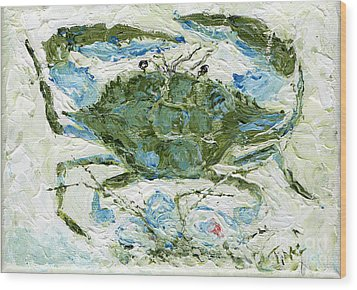 Blue Crab Knife Painting Wood Print by Doris Blessington