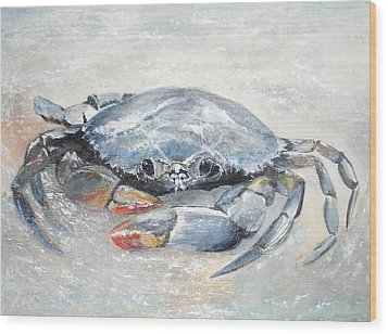 Blue Crab Wood Print by Sibby S