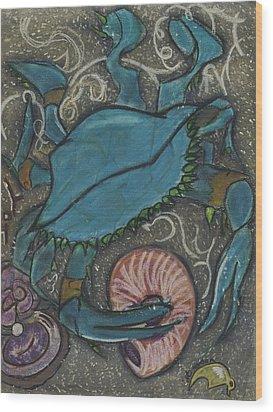 Blue Crab Wood Print by Stu Hanson