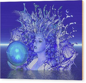 Blue Crystal Wood Print by Matthew Lacey