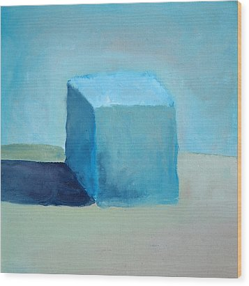 Blue Cube Still Life Wood Print by Michelle Calkins