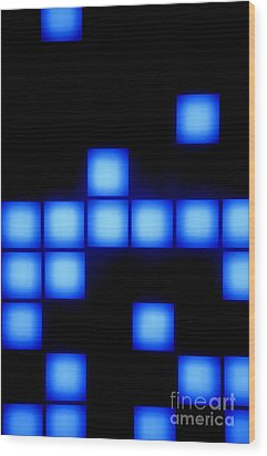 Blue Cubes Wood Print by Brandon Tabiolo - Printscapes