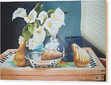 Blue Cup And Pear 3 Wood Print by Sylvester Hickmon