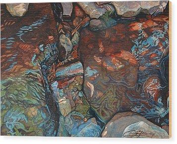 Blue Current Wood Print by Craig Gallaway
