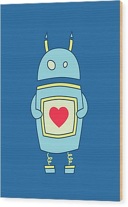 Blue Cute Clumsy Robot With Heart Wood Print