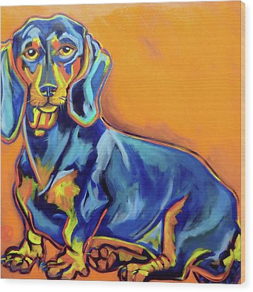 Blue Dachshund Wood Print by Ilene Richard