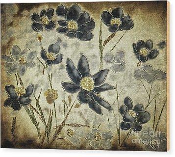 Wood Print featuring the digital art Blue Daisies by Lois Bryan