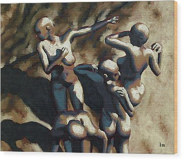 Blue Dancers Wood Print by Leo Mazzeo