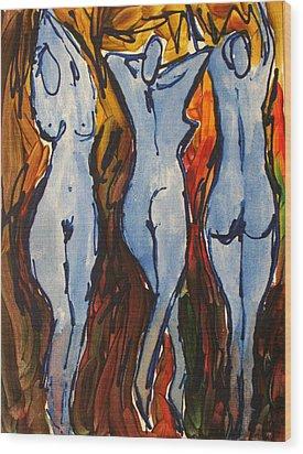Blue Dancers Wood Print by Romina Diaz-Brarda