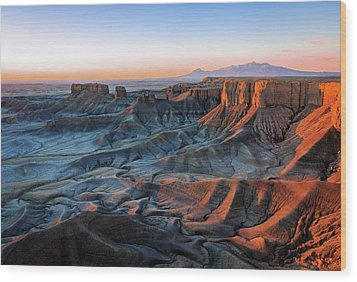 Wood Print featuring the photograph Blue Dawn In The Cainville Badlands. by Johnny Adolphson