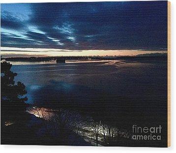 Blue Dawn On Casco Bay Wood Print