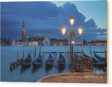Wood Print featuring the photograph Blue Dawn Over Venice by Brian Jannsen