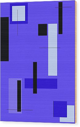 Blue Design 1 Vertical Wood Print