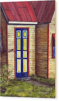 Blue Door Wood Print