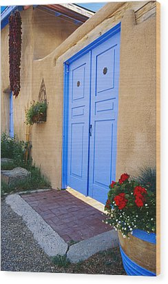 Blue Door Of An Adobe Building Taos New Mexico Wood Print by George Oze
