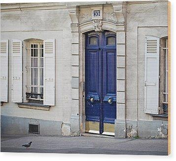 Wood Print featuring the photograph Blue Door - Paris, France by Melanie Alexandra Price