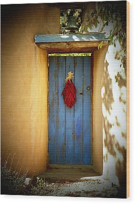 Blue Door With Chiles Wood Print