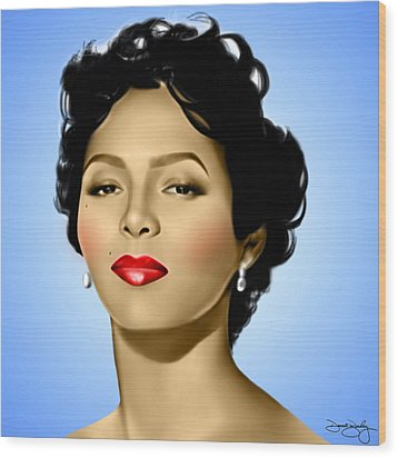 Blue Dorothy Wood Print by Davonte Bailey