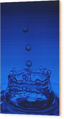 Blue Drop Wood Print by Steve Gadomski