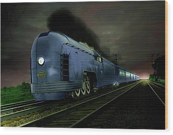 Blue Express Wood Print
