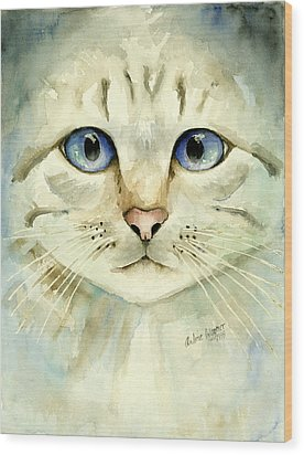 Blue-eyed Cat Wood Print by Arline Wagner