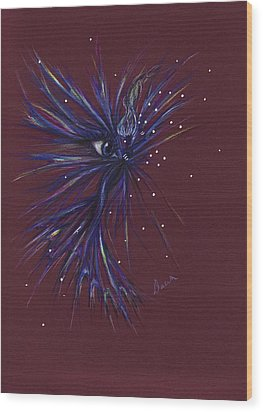 Wood Print featuring the drawing Blue-eyed Fae by Dawn Fairies