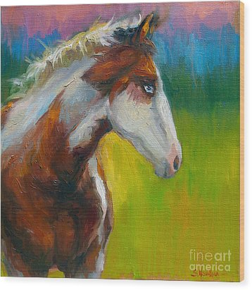 Blue-eyed Paint Horse Oil Painting Print Wood Print by Svetlana Novikova