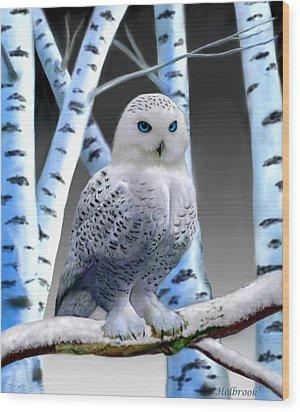 Blue-eyed Snow Owl Wood Print by Glenn Holbrook