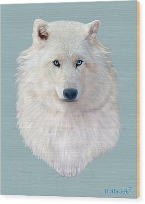 Blue-eyed Snow Wolf Wood Print by Glenn Holbrook