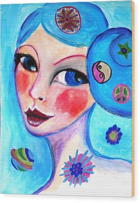 Blue Eyed Woman Wood Print