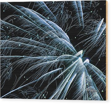 Wood Print featuring the photograph Blue Fairy Fireworks #0710_3 by Barbara Tristan