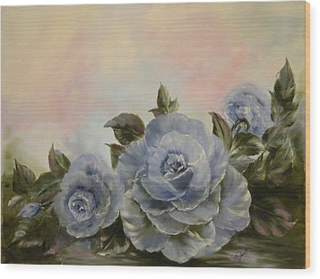 Wood Print featuring the painting Blue Fantasy by Joni McPherson