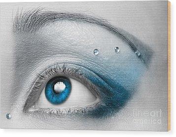 Blue Female Eye Macro With Artistic Make-up Wood Print by Oleksiy Maksymenko